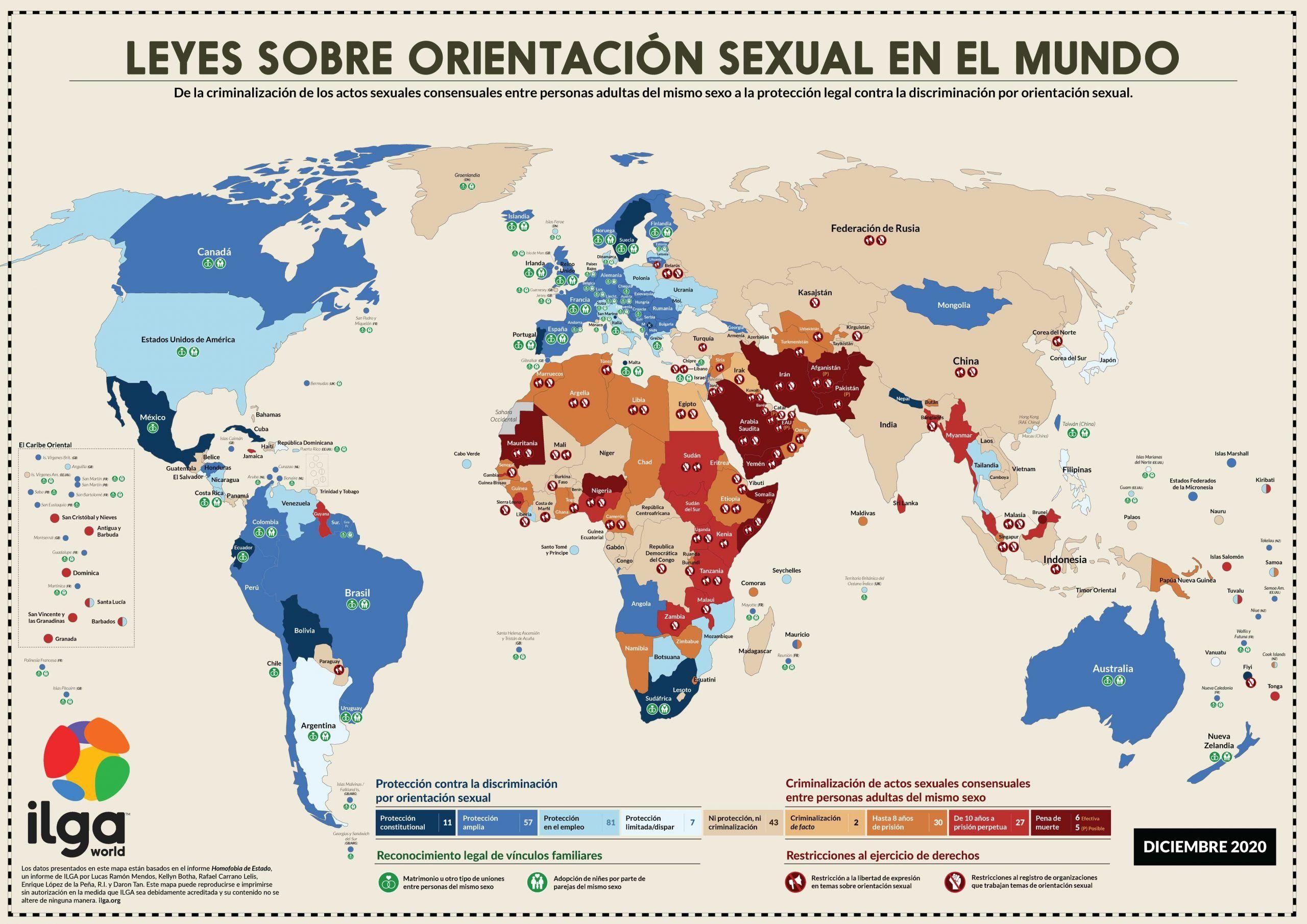 Mapa que recoge a grandes rasgos la situación del colectivo LGTBI en el mundo