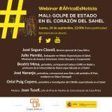 """Webinar #AfricaEsNoticia: """"Mali, golpe de Estado en el corazón del Sahel"""". 24 de septiembre de 2020, a las 11.00 (Hora canaria) a través de las redes sociales de Casa África"""